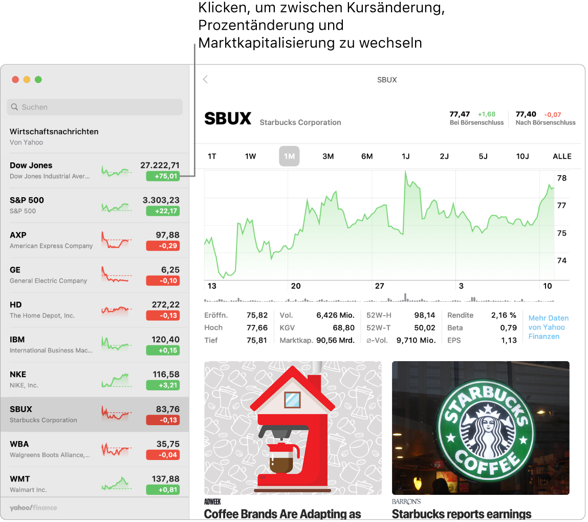 Ein Aktien-Bildschirm mit Informationen und Storys über die gewählte Aktie.