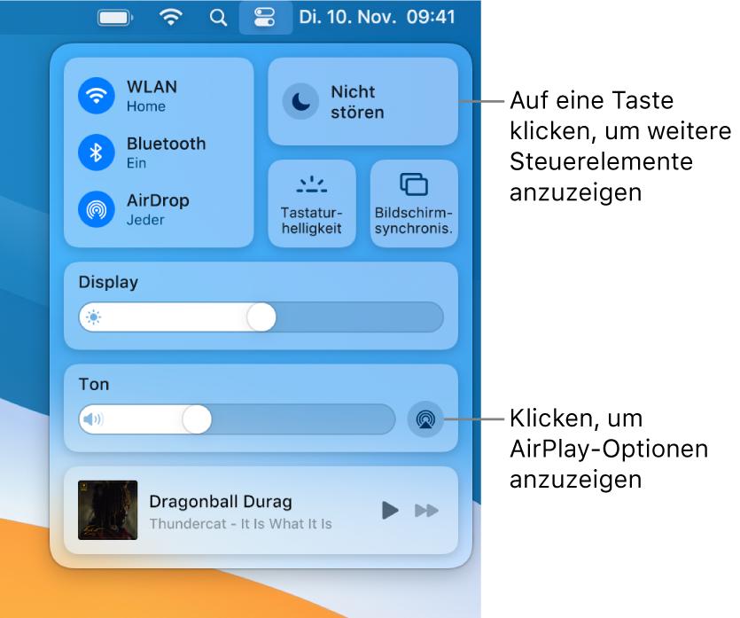 """Vergrößerte Darstellung des Kontrollzentrums auf dem Mac mit Beschriftung der Taste """"Monitor""""."""