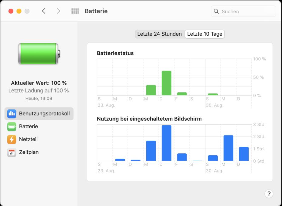 """Das Fenster für das Benutzungsprotokoll der Batterie mit ausgewählter Option """"Letzte 10 Tage""""."""