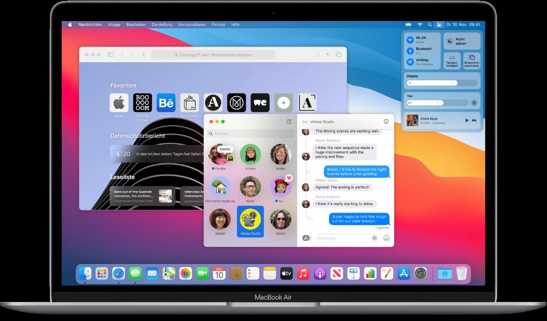 Ein MacBookAir-Schreibtisch mit Kontrollzentrum und verschiedenen geöffneten Apps.