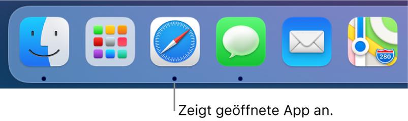 Ein Ausschnitt des Docks, in dem schwarze Punkte unter geöffneten Apps angezeigt werden.