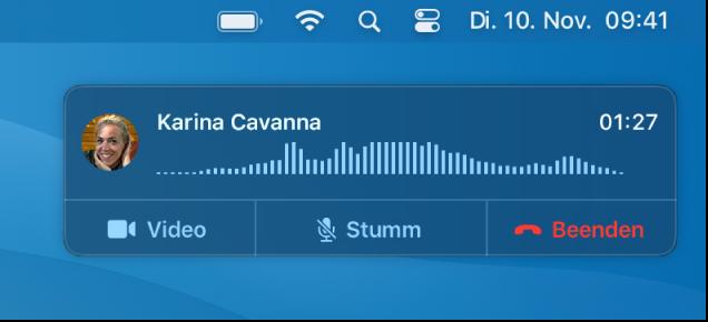 Teil eines Mac-Bildschirms, in dem das Fenster mit der Anrufmitteilung angezeigt wird.