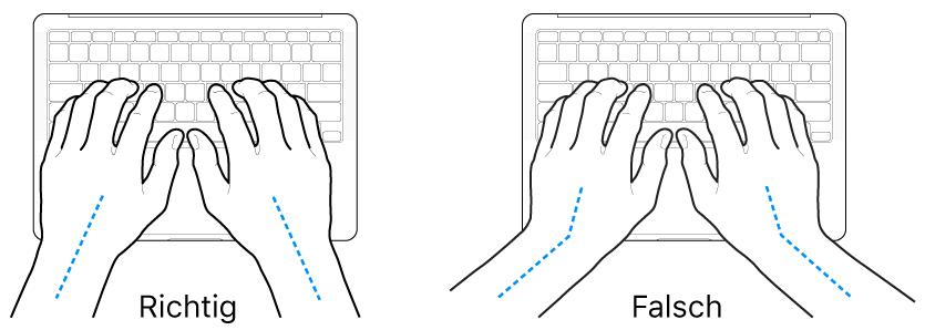 Tastatur und Hände in richtiger und falscher Haltung von Handgelenk und Händen