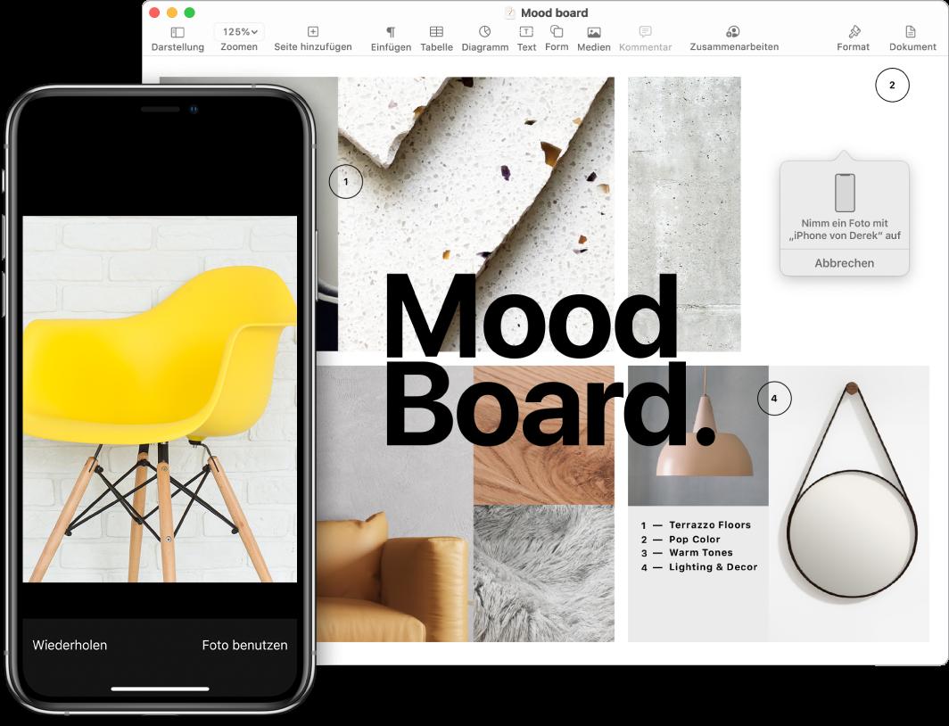 Ein iPhone, auf dem ein Foto, und ein Mac-Bildschirm, auf dem ein Pages-Dokument mit einem Hinweisfeld mit dem Speicherort des Fotos zu sehen ist.