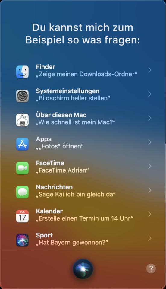 """Ein Siri-Fenster mit der Überschrift """"Dinge, die du mich fragen kannst"""" und Siri-Beispielanfragen wie """"Hat Bayern gewonnen?"""""""