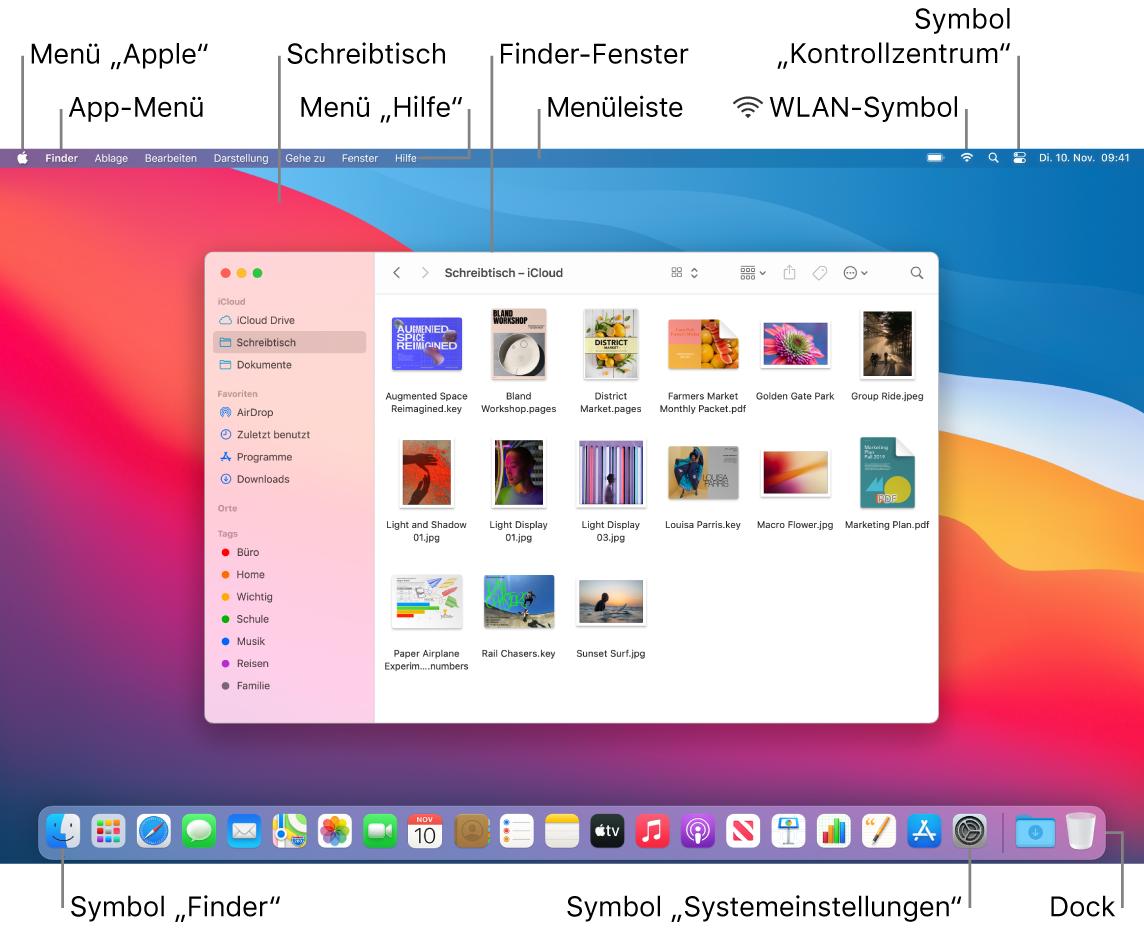 """Mac-Bildschirm mit dem Menü """"Apple"""", dem Menü """"App"""", dem Schreibtisch, dem Menü """"Hilfe"""", dem Finder-Fenster, der Menüleiste, dem WLAN-Symbol, dem Symbol """"Kontrollzentrum"""", dem Finder-Symbol, dem Symbol für die Systemeinstellungen und dem Dock."""
