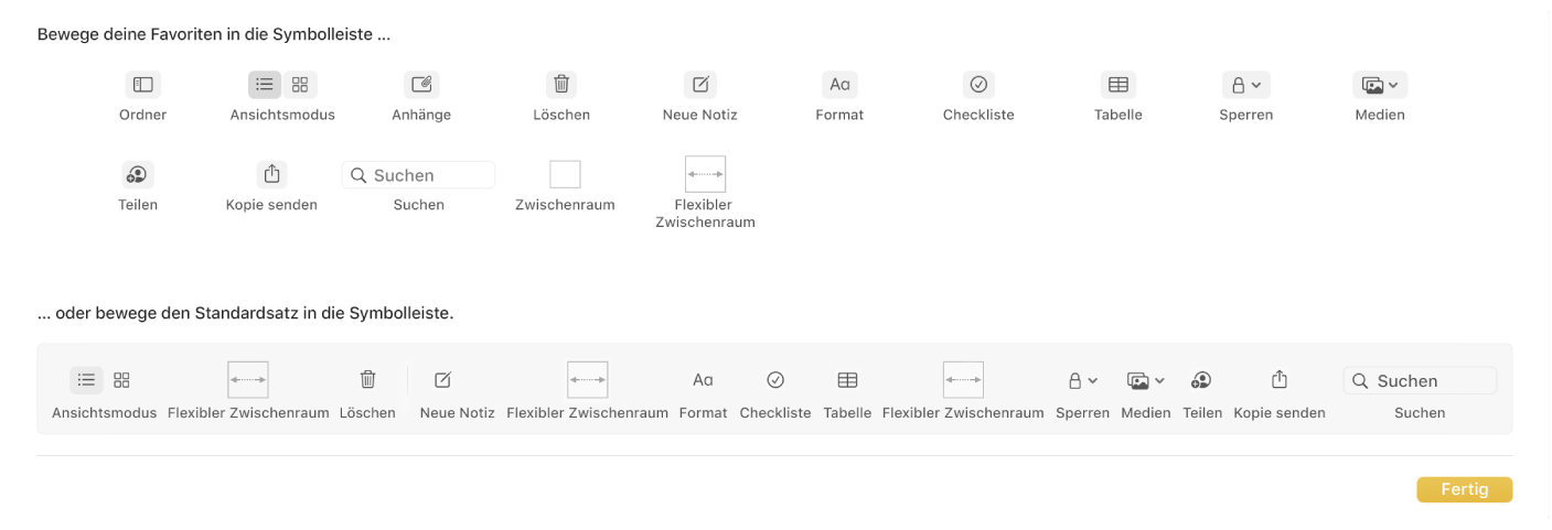 """Ein Fenster der App """"Notizen"""" mit den verfügbaren Optionen zum Anpassen der Symbolleiste."""