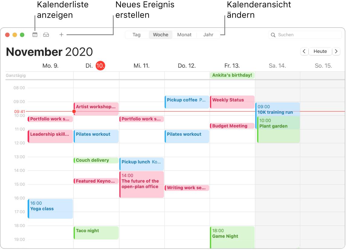 Ein Kalender-Fenster mit Informationen zum Erstellen eines Ereignisses, zum Anzeigen einer Kalenderliste und zum Auswählen einer Darstellung in Tagen, Monaten oder Jahren