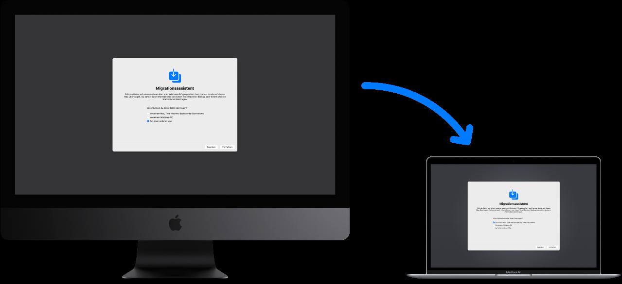 Ein alter iMac mit dem Fenster des Migrationsassistenten, der mit einem neuen MacBook Air verbunden ist, auf dem ebenfalls der Migrationsassistent geöffnet ist.