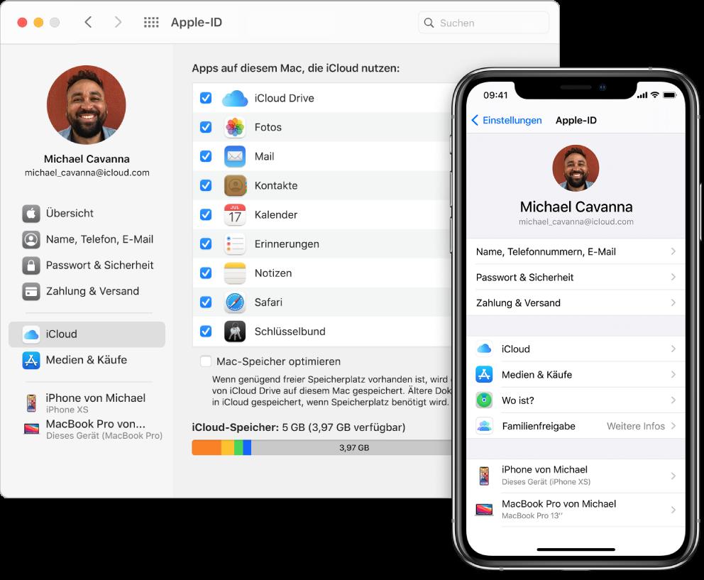 iCloud-Einstellungen auf einem iPhone und das iCloud-Fenster auf dem Mac.