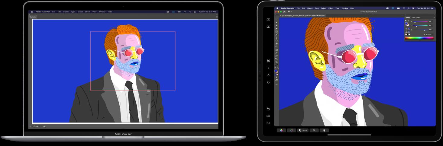 Ένα MacBook Air και ένα iPad δίπλα-δίπλα. Το MacBook Air εμφανίζει σχέδιο εντός του παραθύρου πλοηγού του Illustrator. Το iPad εμφανίζει το ίδιο σχέδιο στο παράθυρο εγγράφων του Illustrator, περιβαλλόμενο από γραμμές εργαλείων.