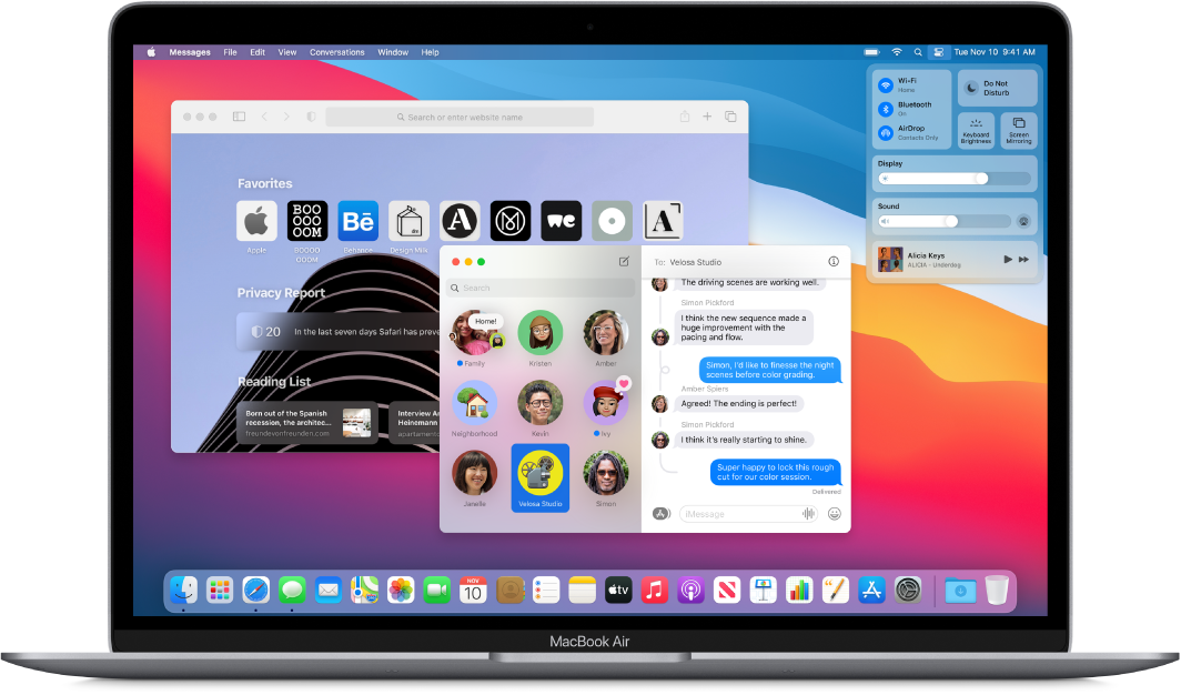 A MacBook Air desktop showing Control Center and several open apps.