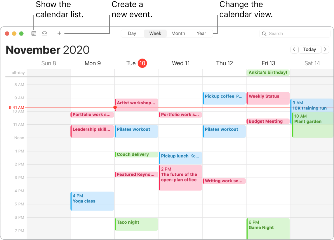 A Calendar window showing how to create an event, show the calendar list, and choose Day, Week, Month, or Year view.