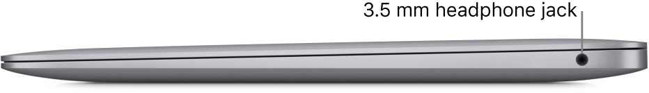The right side view of a MacBook Air with callouts to the 3.5 mm headphone jack.