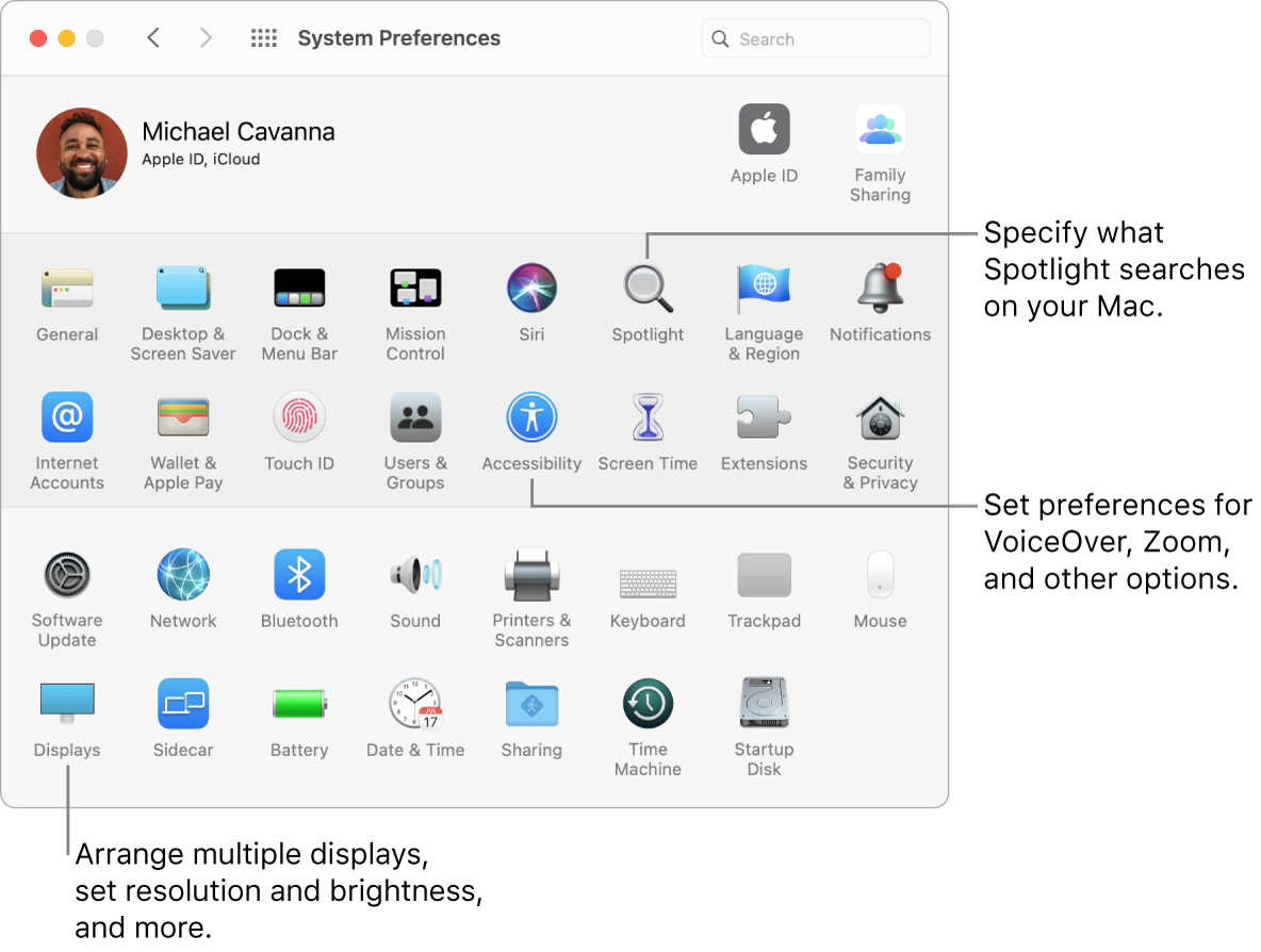 The System Preferences window.