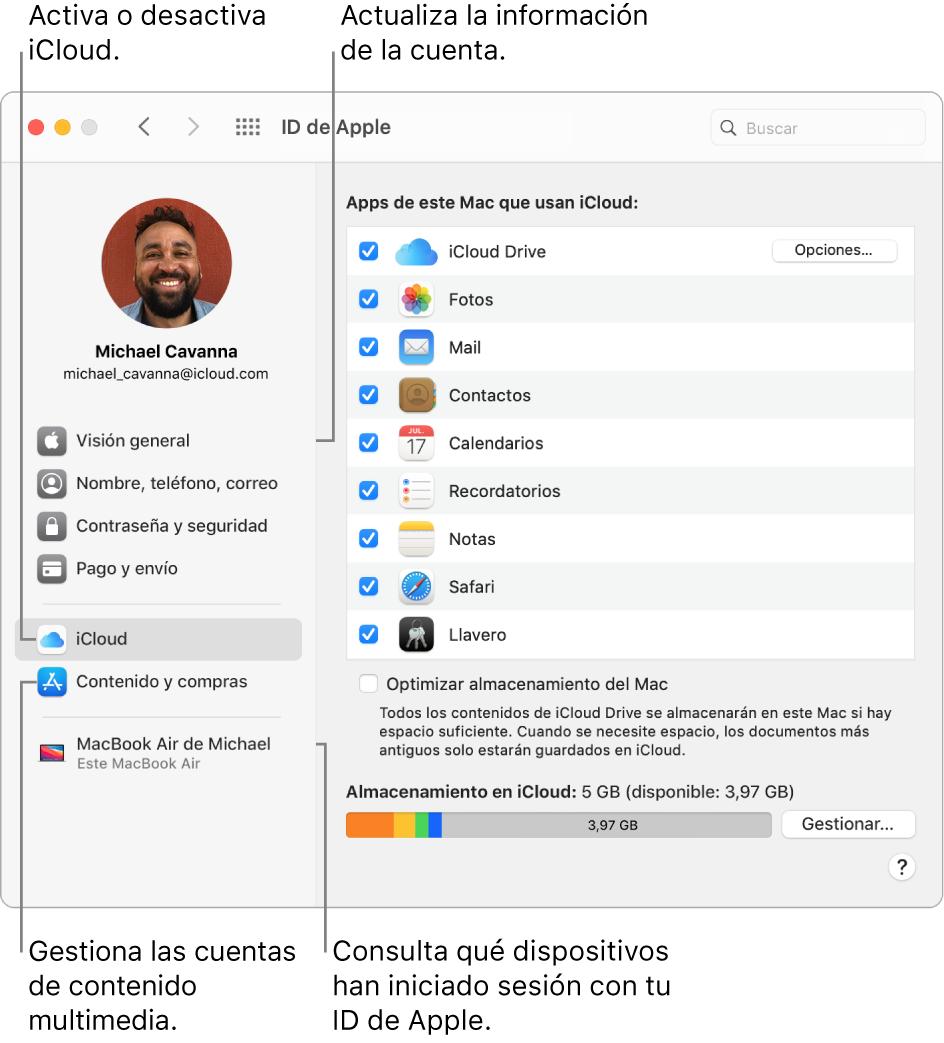 El panel IDdeApple de Preferencias del Sistema. Haz clic en un ítem de la barra lateral para actualizar la información de tu cuenta, activar o desactivar iCloud, gestionar tus cuentas de redes sociales y ver todos los dispositivos que han iniciado sesión con tu IDdeApple.