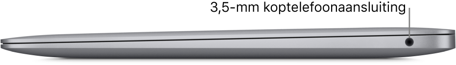 Het rechteraanzicht van een MacBookAir met een bijschrift voor de 3,5-mm koptelefoonaansluiting.