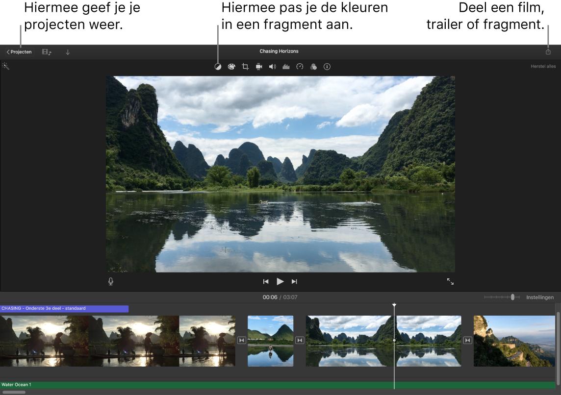 Een iMovie-venster met knoppen voor het weergeven van projecten, het corrigeren en aanpassen van kleuren en het delen van je film, trailer of filmfragment.