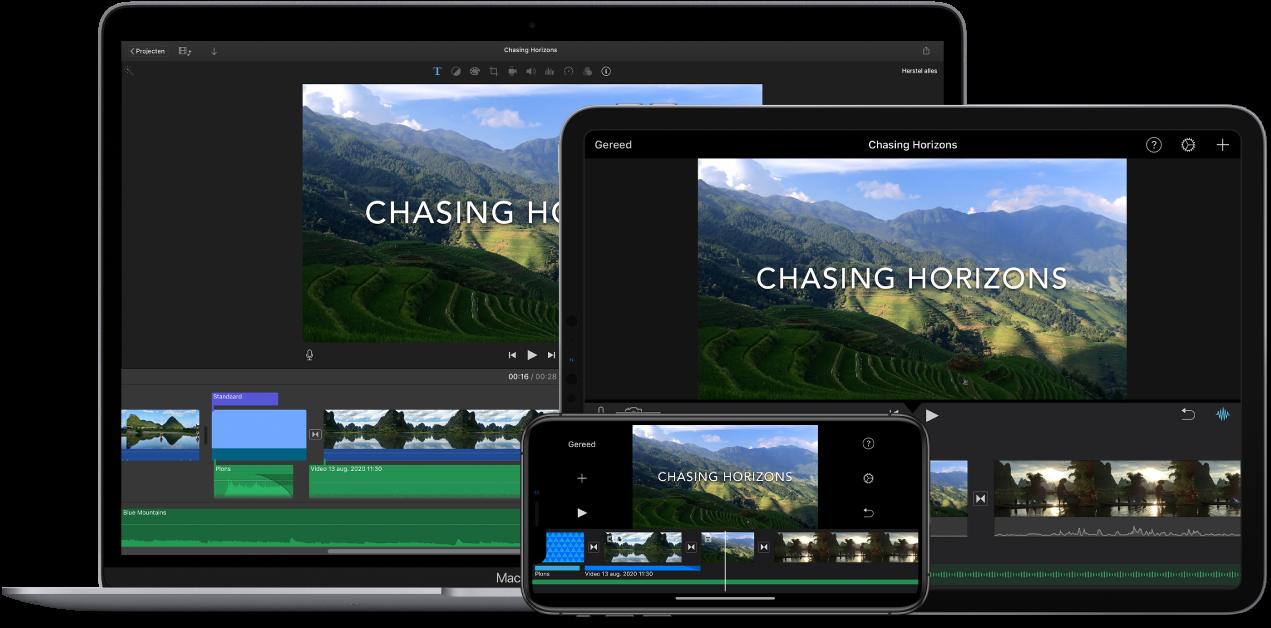 Identieke inhoud weergegeven op een MacBookAir, een iPad en een iPhone.