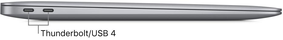 Het linkeraanzicht van een MacBookAir met bijschriften voor de Thunderbolt/USB4-poorten.