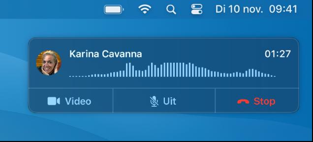 Een deel van een Mac-scherm met een melding van een binnenkomend gesprek.