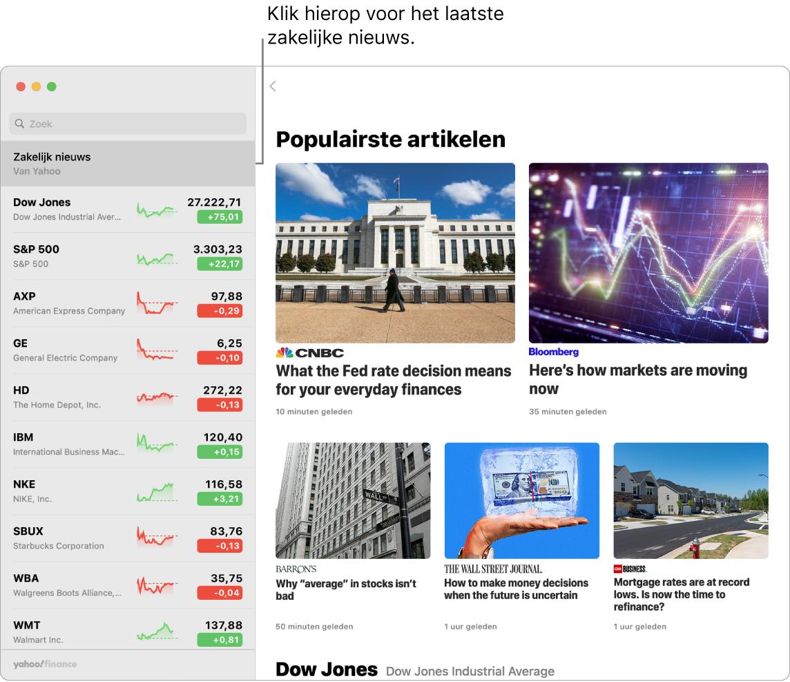 Het Aandelen-dashboard met actuele koersen in een volglijst met bijbehorende populairste artikelen.