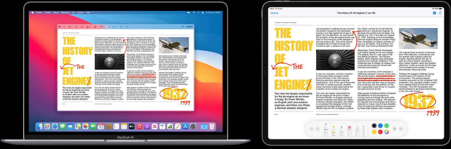 Een MacBookAir en een iPad naast elkaar. Op beide schermen wordt een artikel weergegeven met rode markeringen zoals doorgestreepte zinnen, pijlen en toegevoegde woorden. Onder in het scherm van de iPad bevinden zich ook markeringsregelaars.