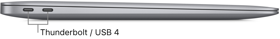 Den venstre siden av en MacBook Air med bildeforklaringer for Thunderbolt-/ USB4-portene.