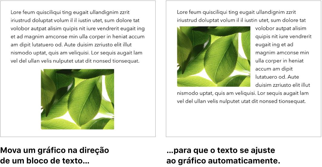 Janela do Pages mostrando como o texto se ajusta ao redor de gráficos.