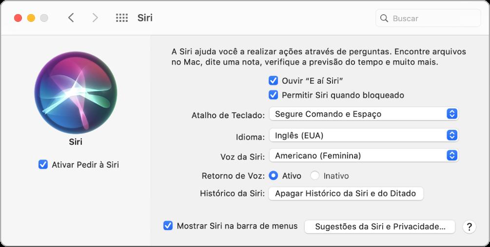 """Janela de preferências da Siri com a opção """"Ativar Pedir à Siri"""" selecionada à esquerda e várias opções para personalização da Siri, à direita, incluindo """"Ouvir 'E aí Siri'""""."""