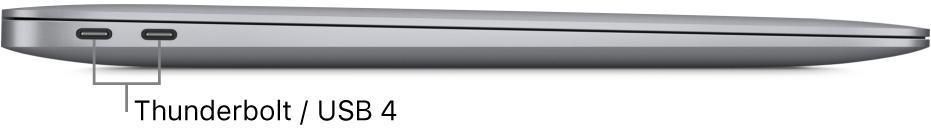Vista da lateral esquerda de um MacBook Air com chamadas para as portas Thunderbolt/ USB 4.
