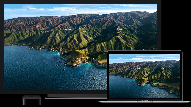 MacBookAir com seu conteúdo espelhado em uma TV HD grande usando uma AppleTV.