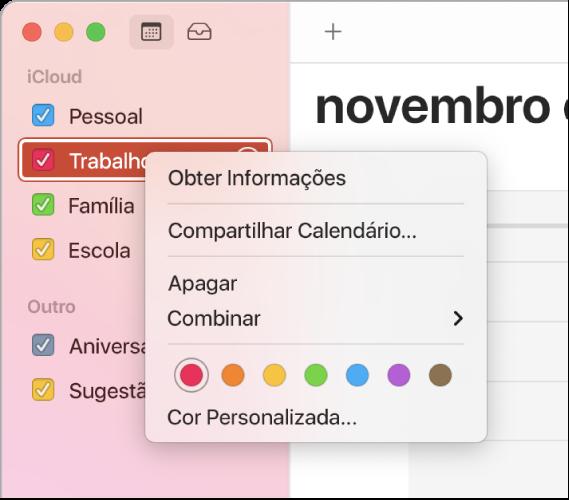 Menu de atalho do Calendário, com opções de cores para personalizar a cor de um calendário.