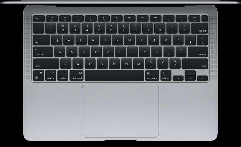 Vista superior do MacBook Air.