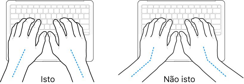 Mãos posicionadas sobre um teclado, mostrando os alinhamentos correto e incorreto do pulso e da mão.