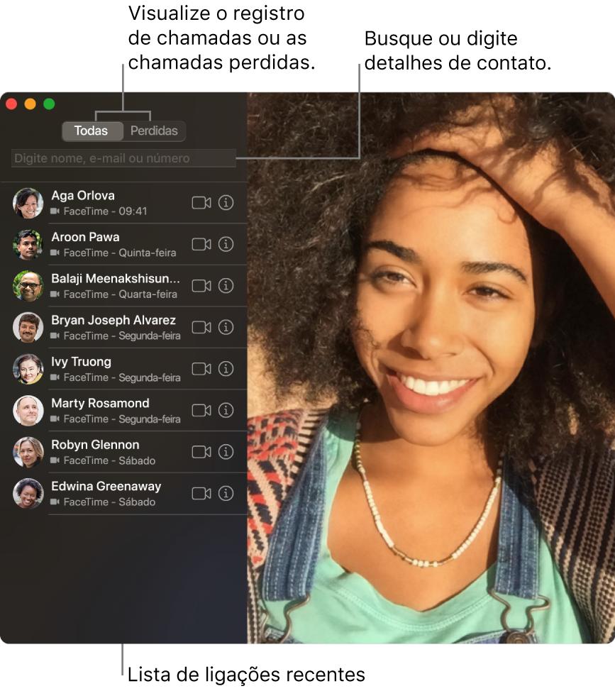 Uma janela do FaceTime mostrando como fazer uma ligação de vídeo ou áudio, usar o campo de busca para digitar ou buscar detalhes de contatos e visualizar a lista de ligações recentes.
