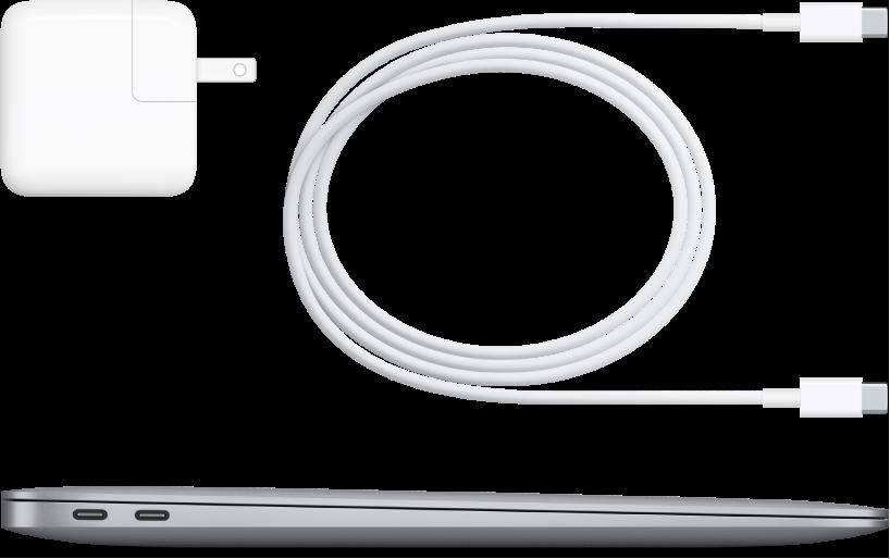 Vista lateral do MacBook Air com os acessórios que o acompanham.