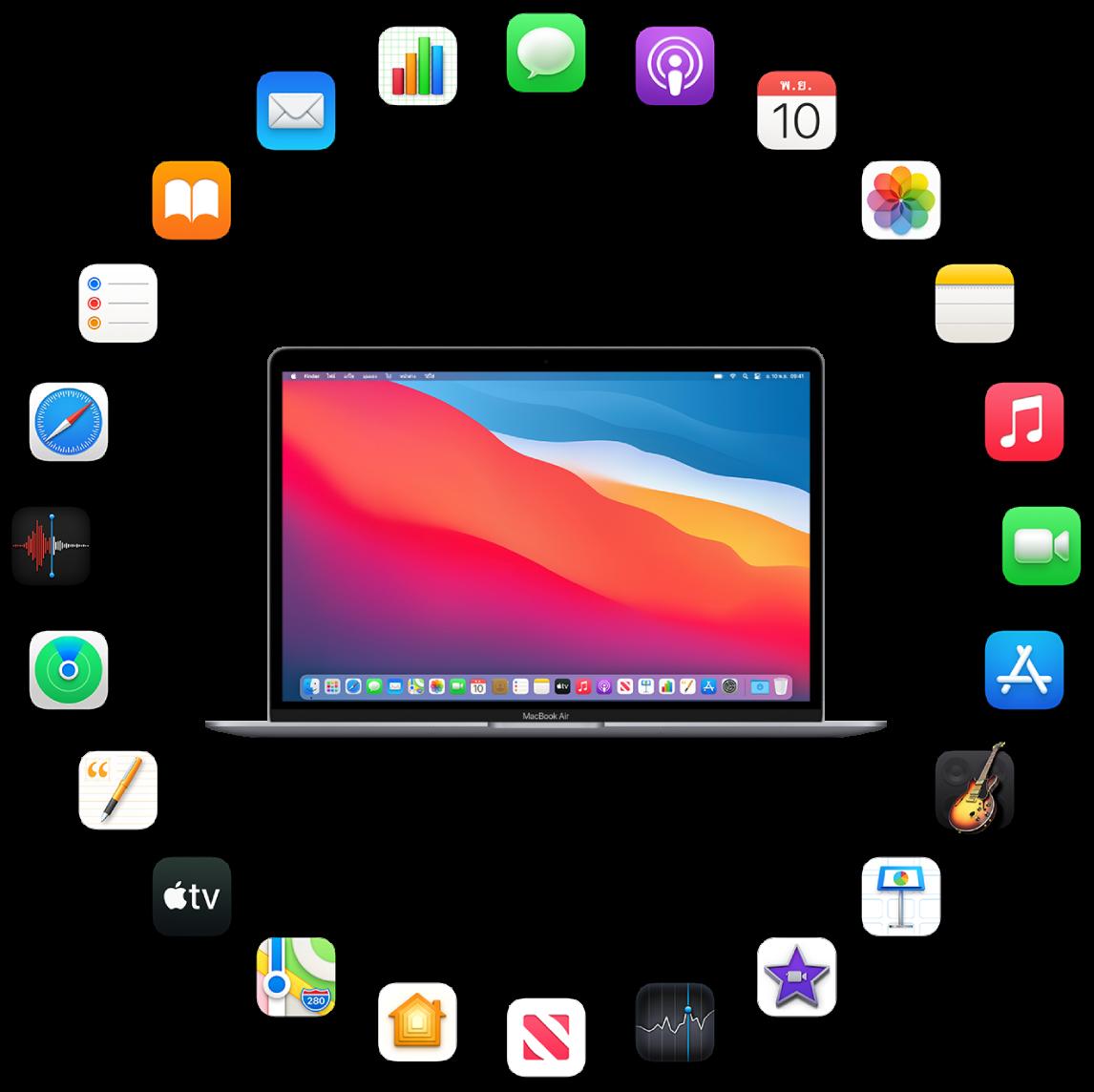 MacBookAir ที่ล้อมรอบด้วยไอคอนต่างๆ ของแอพในตัวซึ่งจะอธิบายในส่วนต่อๆ ไป