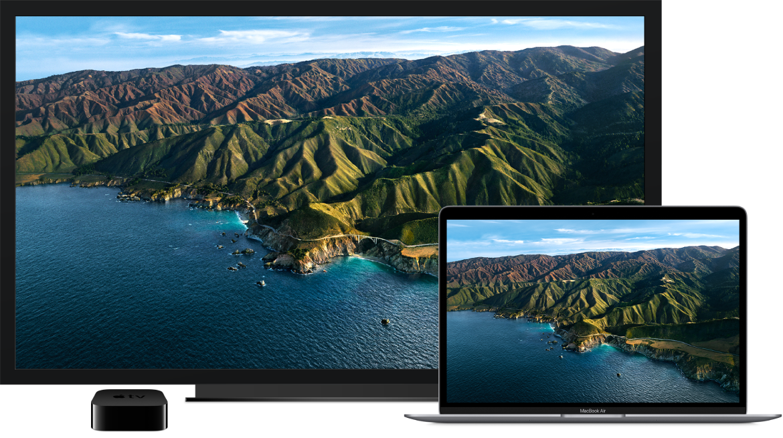 MacBookAir ที่เนื้อหาสะท้อนอยู่บน HDTV ขนาดใหญ่โดยใช้ AppleTV
