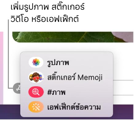 เมนูแอพที่มีตัวเลือกสำหรับแสดงรูปภาพ, สติ๊กเกอร์ Memoji, GIF และเอฟเฟ็กต์ข้อความ