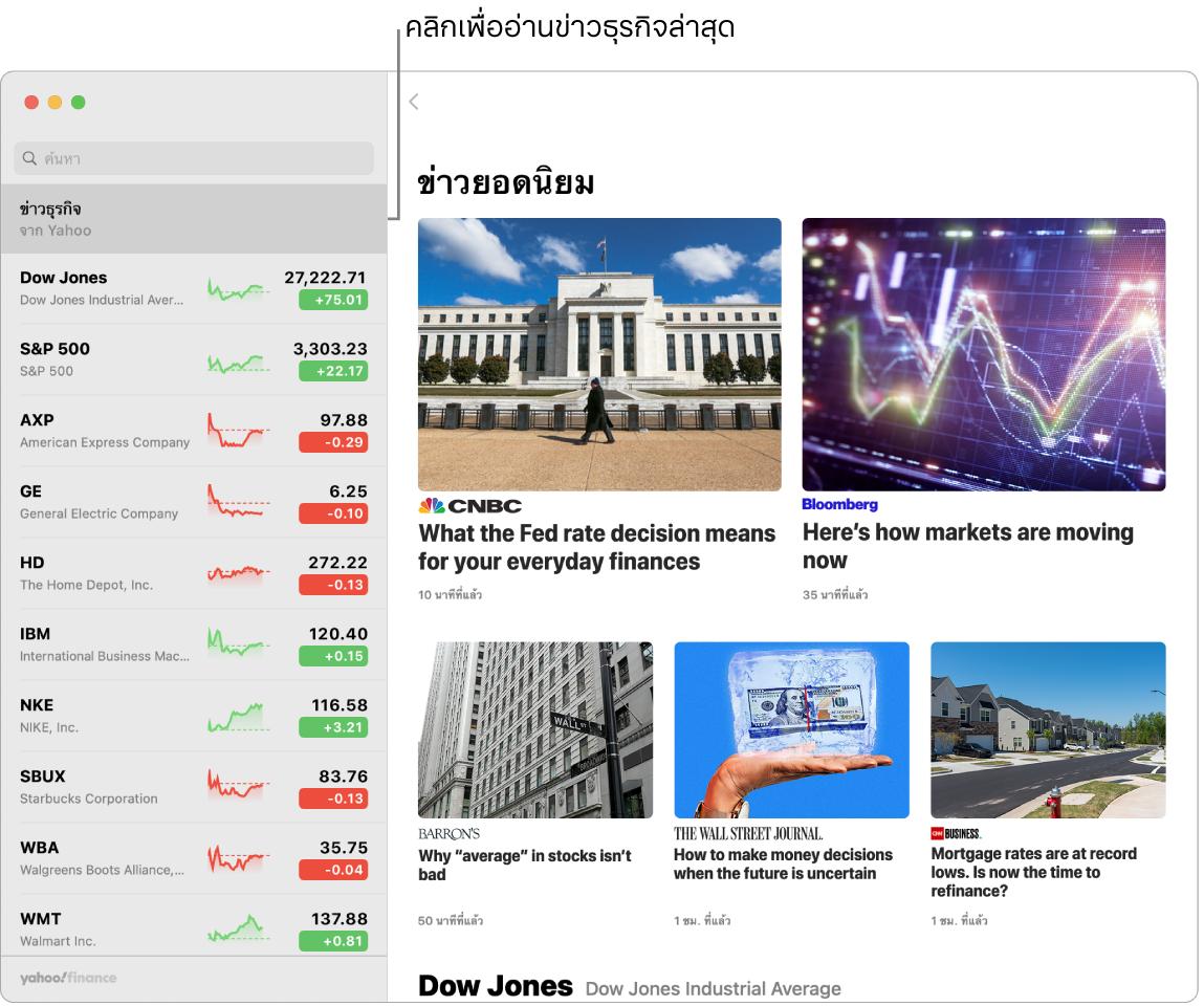 แดชบอร์ดหุ้นที่แสดงราคาตลาดในรายการหุ้นที่มาพร้อมกับข่าวยอดนิยม
