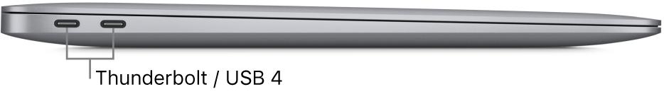 ภาพด้านซ้ายของ MacBook Air ซึ่งมีคำบรรยายภาพของพอร์ต Thunderbolt/ USB 4