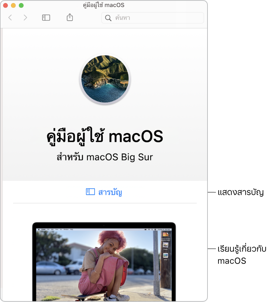 หน้าต้อนรับของคู่มือผู้ใช้macOS ที่แสดงลิงก์สารบัญ