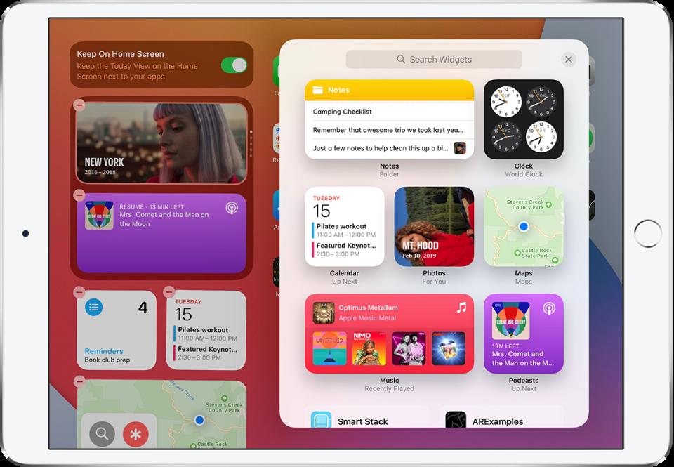 Галерията с инструменти на iPad, показваща инструменти, включително инструменти за Notes (Бележки), Clock (Часовник), Calendar (Календар), Photos (Снимки), Maps (Карти), Music (Музика) и Podcasts (Подкасти).