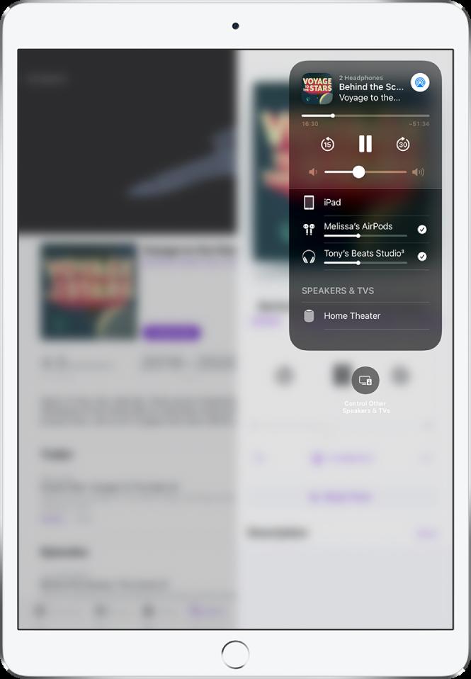 Екранът на iPad, показващ два чифта свързани слушалки AirPods.