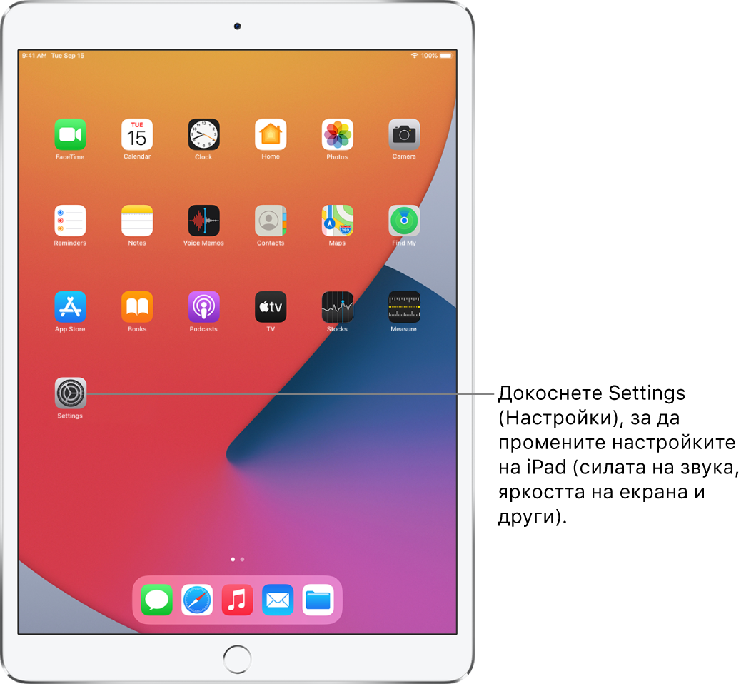 Екран Начало с няколко иконки на приложения, включително иконката на приложението Settings (Настройки), която можете да докоснете, за да промените настройките на вашия iPad за сила на звука, яркост на екрана и други.