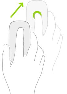 Илюстрация, показваща как се използва мишката за отваряне на Контролен център.