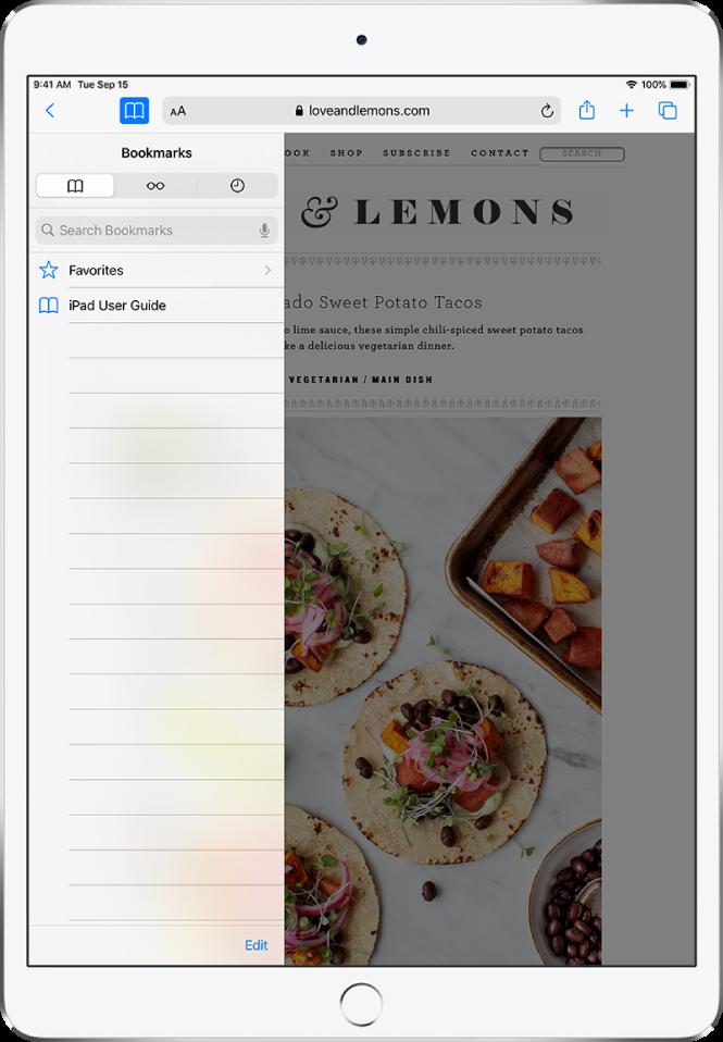 Страничната лента Bookmarks (Отметки) с опции освен отметките да видите любимите и историята на браузване.