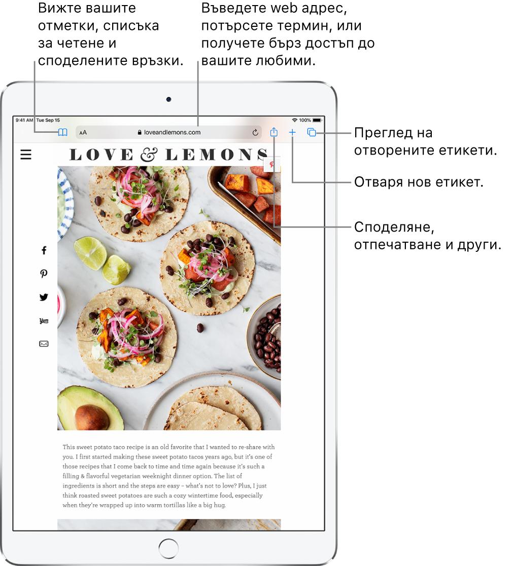 Уеб страница, отворена в Safari, със следните бутони за управление в горния край, от ляво надясно: Бутони Back (Назад), Forward (Напред) и Bookmarks (Отметки), поле за адреса, бутони Share (Споделяне), New Tab (Нова страница) и Pages (Страници).