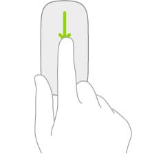 Илюстрация, показваща жеста на мишка за отваряне на търсене от Начален екран.